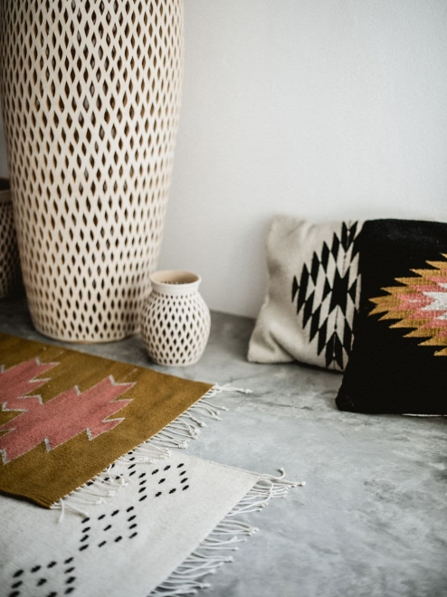 Zapotec diamond cushion | Noir + Ochre + Desert Rose