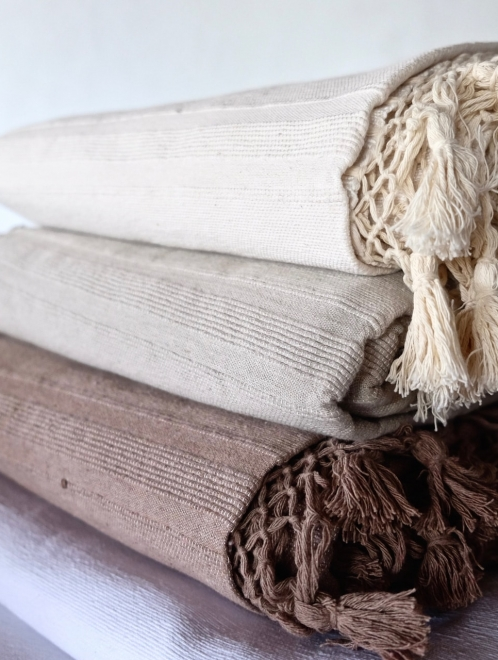 woven cotton tassel blanket in Mocha