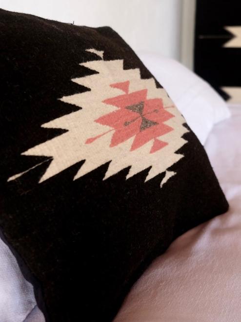 Zapotec Diamond Cushion in Black and Desert Rose