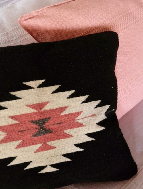 Zapotec Diamond Cushion in Black and Desert Rose