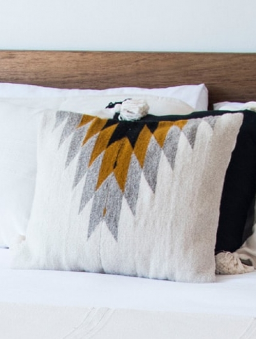 Relampago Mexican Cushion | Natural + Ochre