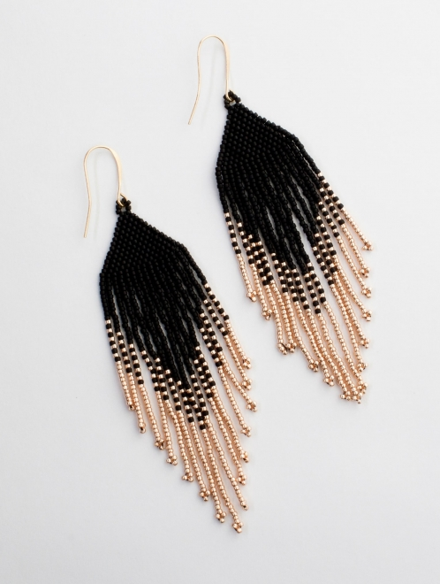Sayulita Handmade Beaded Earrings | Black and Rose Gold