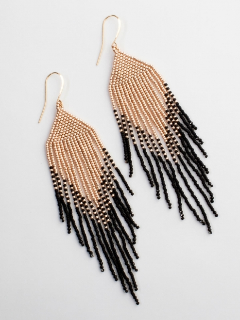 Sayulita Handmade Beaded Earrings | Rose gold + black