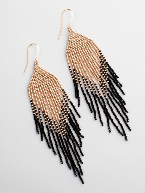 Sayulita earrings in rose gold on black