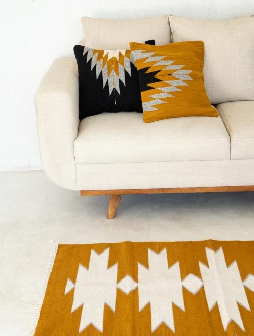 Relampago Handmade Cushion | Black With Mustard And Grey