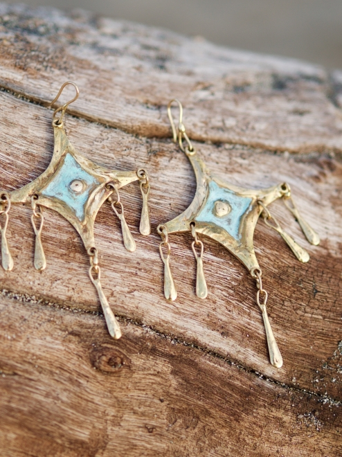 Citlali Handmade Bronze Earrings | Patina Finish