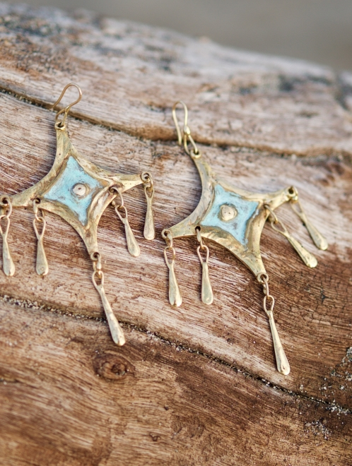 Citlali Handmade Bronze Earrings | Patina Finish