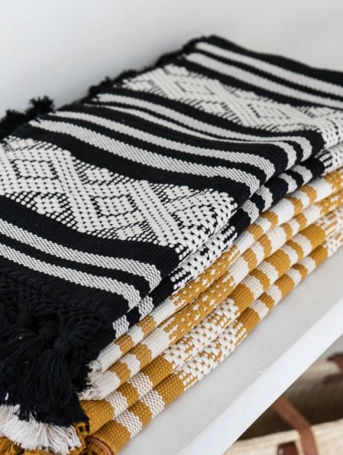 Diamante Handmade Cushion | Noir + Natural