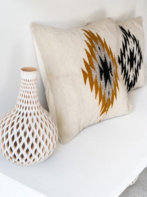 Zapotec Diamond Handmade Cushion | Natural + Ochre