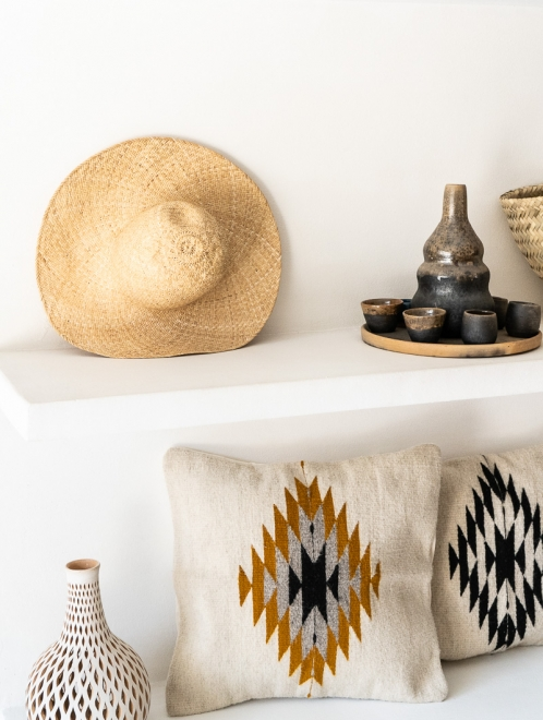 Zapotec Diamond Handmade Cushion | Natural + Ochre