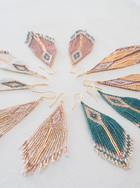 Diamante Earrings Handmade Beaded Earrings