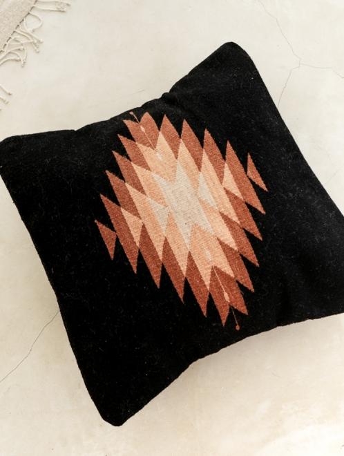 Zapotec Diamond Handmade Cushion | Black + Brick
