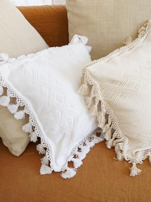 Diamante Handmade Cotton Cushion Covers Plain