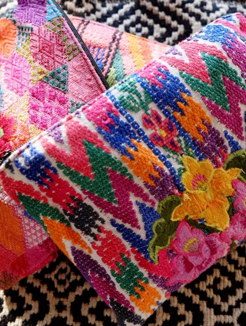 Huipil pouch with embroided flowers
