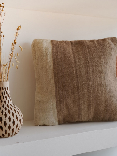 Itzel Handmade Mexican Pillow   Taupe