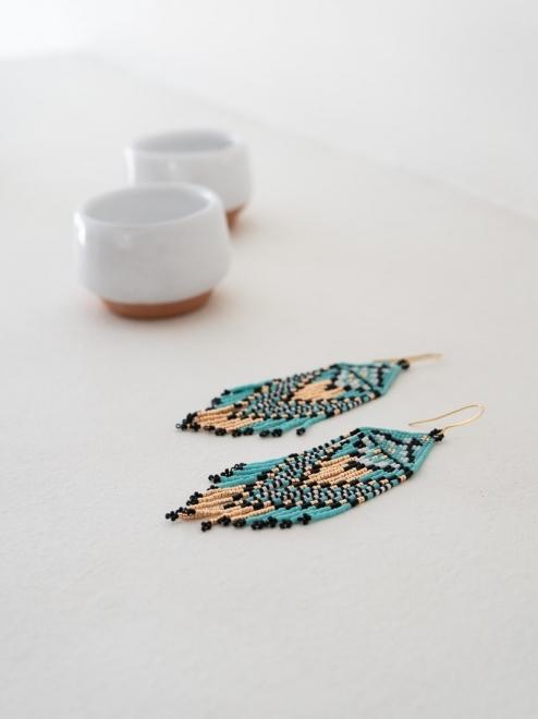 Ojo de Dios Handmade Beaded Earrings   Turquoise + rose gold
