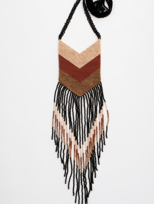 Nakawe Handmade Beaded Fringe Necklace | Rust and Rose Gold