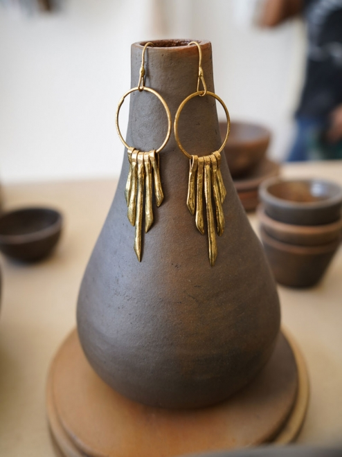 Mayan Sun Bronze Earrings
