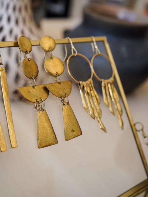 Media Luna Bronze Earrings