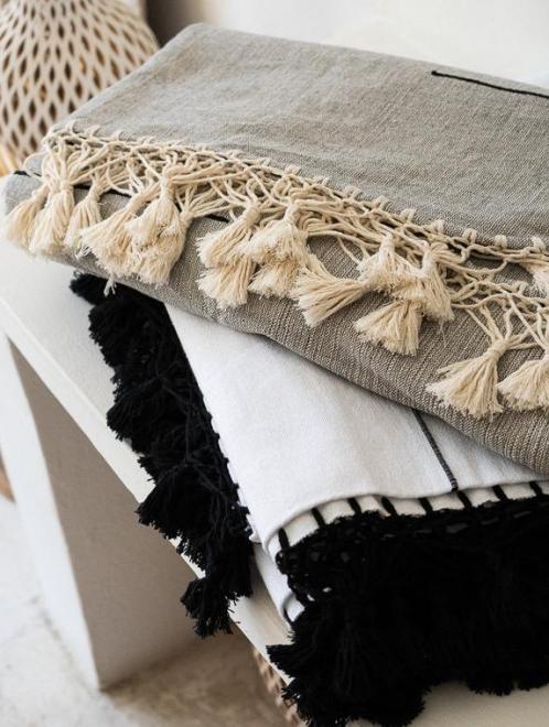 Handwoven Mexican Blanket | White + White