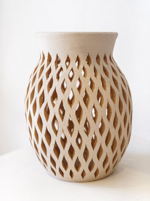 Mexican White Clay Open Mouth Vase | Medium