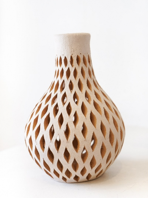 Mexican White Clay Decorative Vase | Small