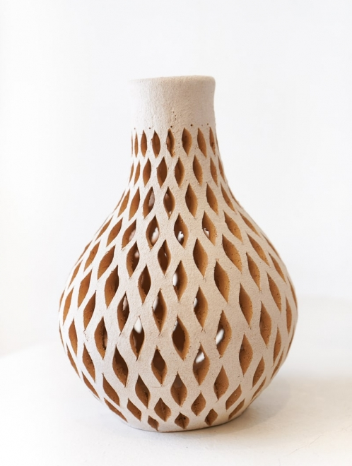 Mexican White Clay Decorative Vase | Small