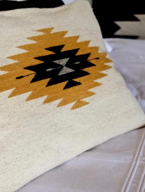 Zapotec Diamond Mexican Pillow   Natural With Mustard + Grey + Black
