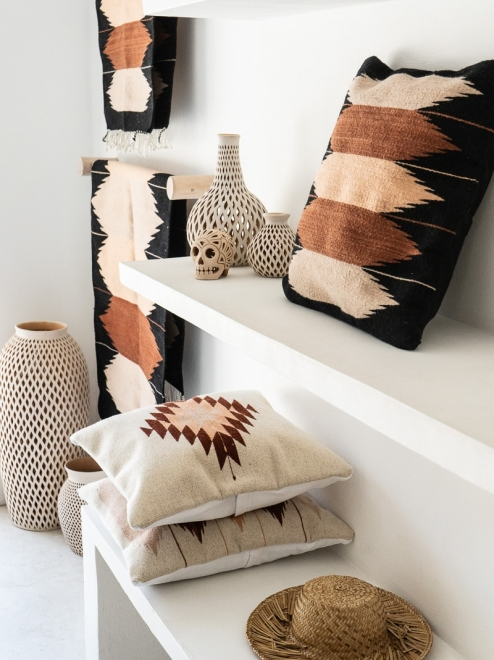 Zapotec Diamond Mexican Pillow | Natural With Rust + Salmon + Blush