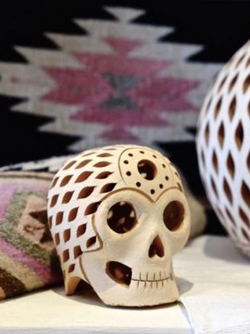 Handcrafted Mexican Clay Skull Calavera