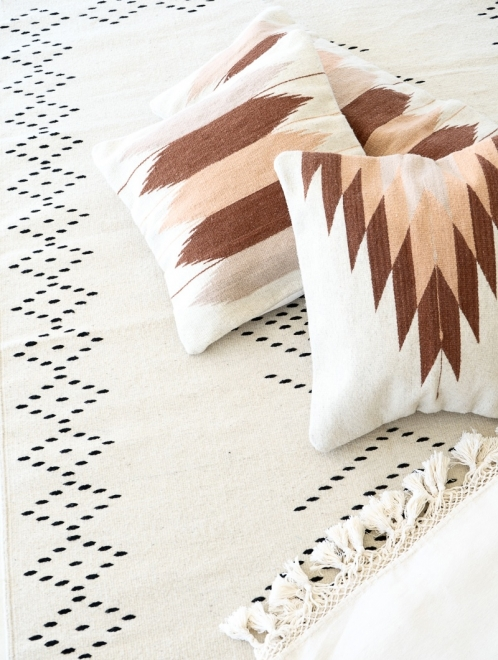 Relámpago Mexican Pillow | Natural With Rust + Salmon + Blush