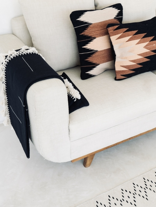 Relámpago Mexican Pillow | Black With Rust + Salmon + Blush