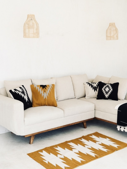 Maguey Handwoven Mexican Rug | Ochre + Natural