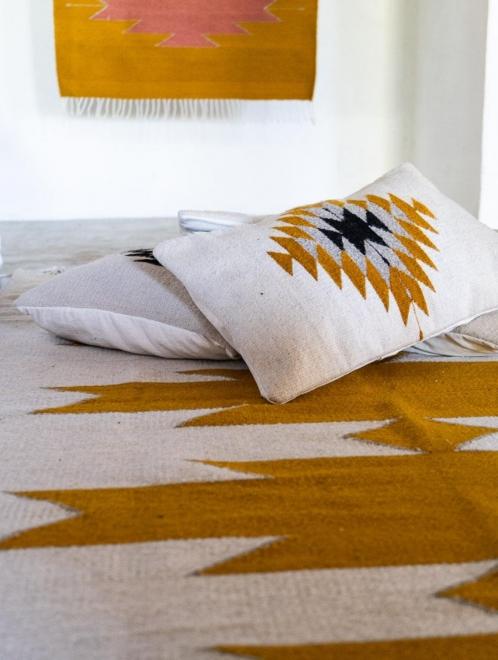 Zapotec Diamond Mexican Woven Lumbar Pillow | Natural Base + Ochre + Grey