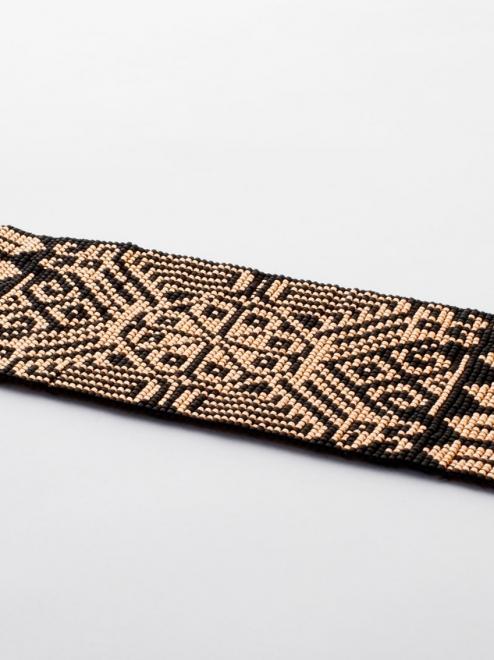 Peyote Handmade Beaded Bracelet   Rose gold + Black