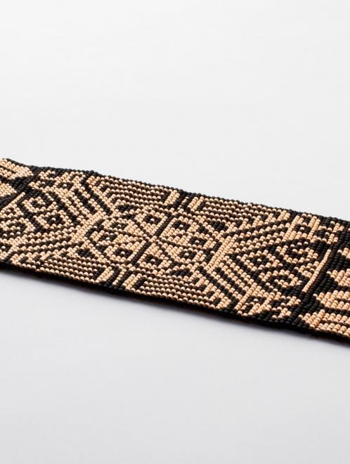Peyote Handmade Beaded Bracelet | Rose gold + Black