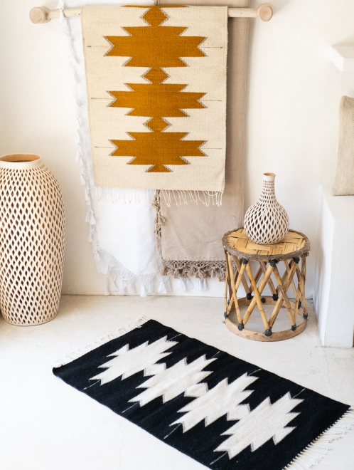 Maguey Handwoven Mexican Rug | Natural + Ochre