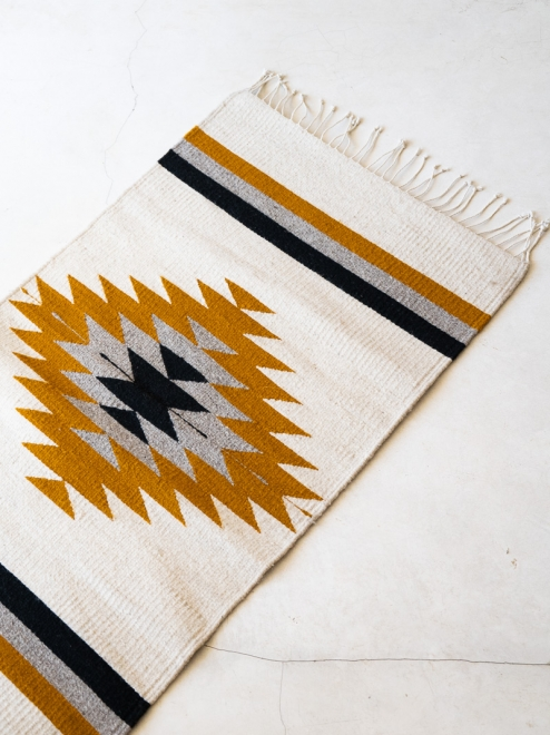 Zapotec Diamond Handwoven Mexican Rug | Ochre