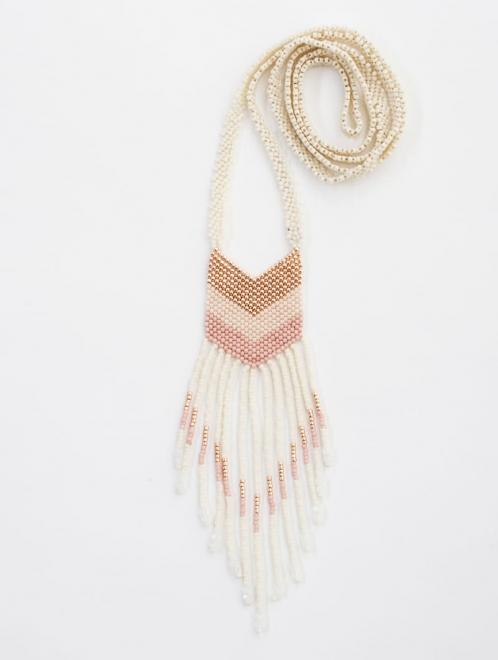 small Nakawe beaded fringe necklace in rose gold