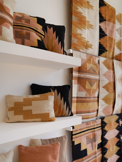 Relampago Mexican Pillow | Black + Desert Rose & Clay Tones