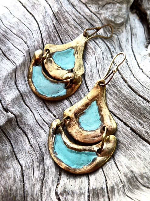 Tlalli Handmade Bronze Earrings | Patina