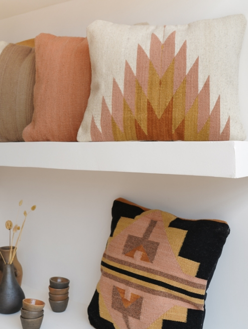 Relampago Mexican Pillow | Natural With Desert Rose & Clay Tones