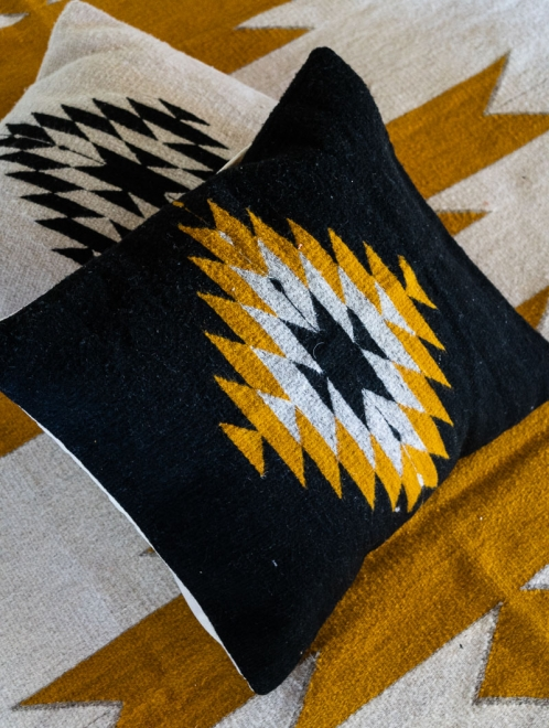 Zapotec Diamond Handmade cushion | Noir + Ochre