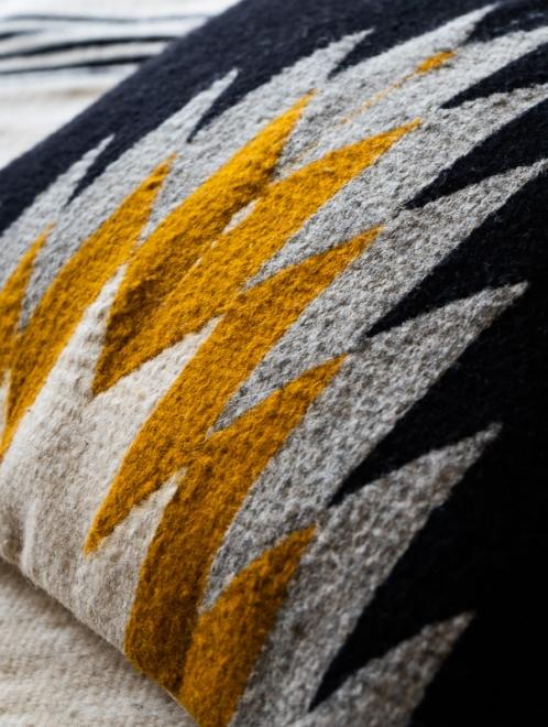 Relampago Handmade Cushion   Black With Mustard And Grey