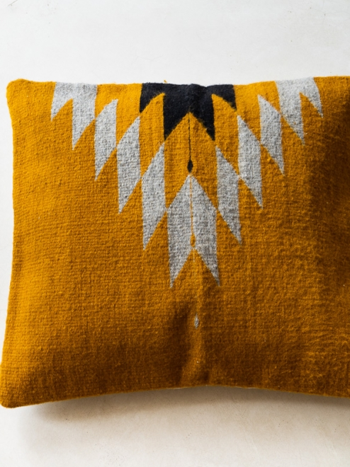 Relampago Handmade Cushion | Mustard With Grey