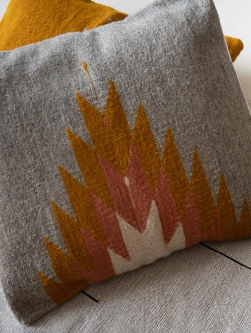 Relampago Handmade Cushion | Grey with Rose