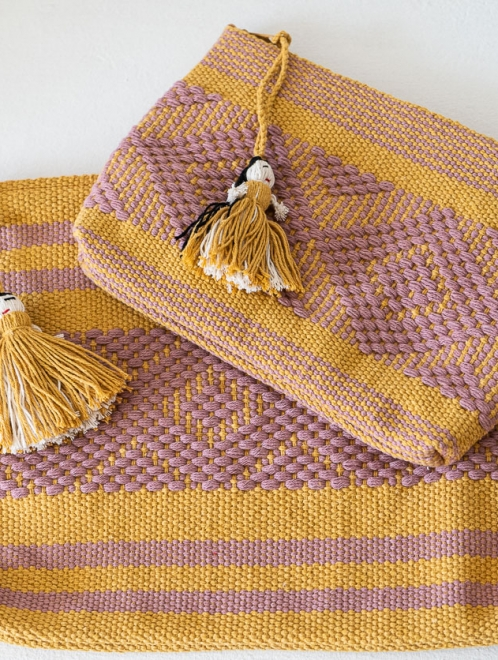 Handwoven Mexican textile bag | Ochre + Amethyst