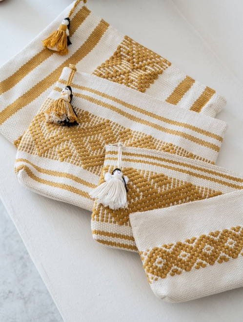 Handwoven Mexican textile bag | Ochre on White
