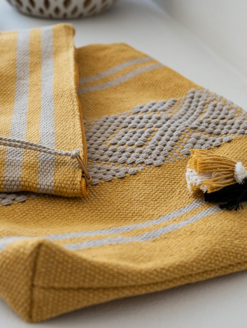 Handwoven Mexican textile bag | Ochre + Taupe