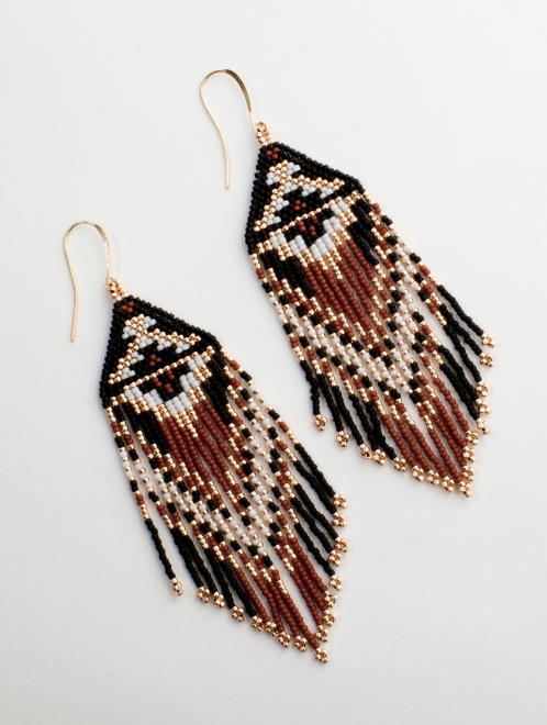 Ojo de Dios Handmade Beaded Earrings | Rust + rose gold